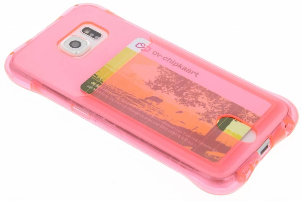 Roze TPU hoesje met vakje voor de Samsung Galaxy S6