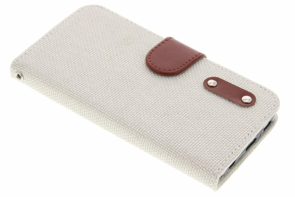 Witte linnen look TPU booktype hoes voor de Samsung Galaxy S6
