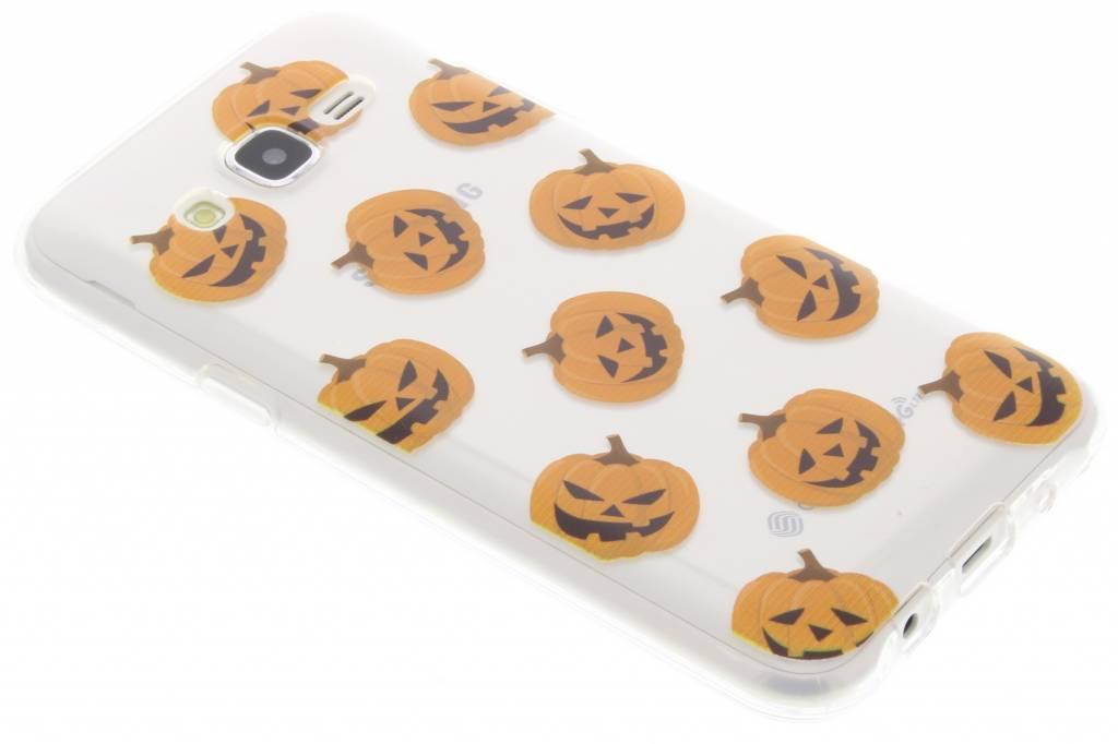 Halloween design pompoentjes TPU hoesje voor de Samsung Galaxy J5