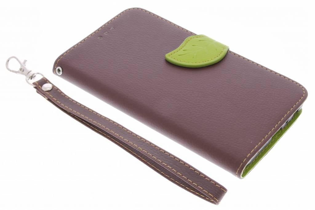 Bruine Blad design TPU booktype hoes voor de Samsung Galaxy J5