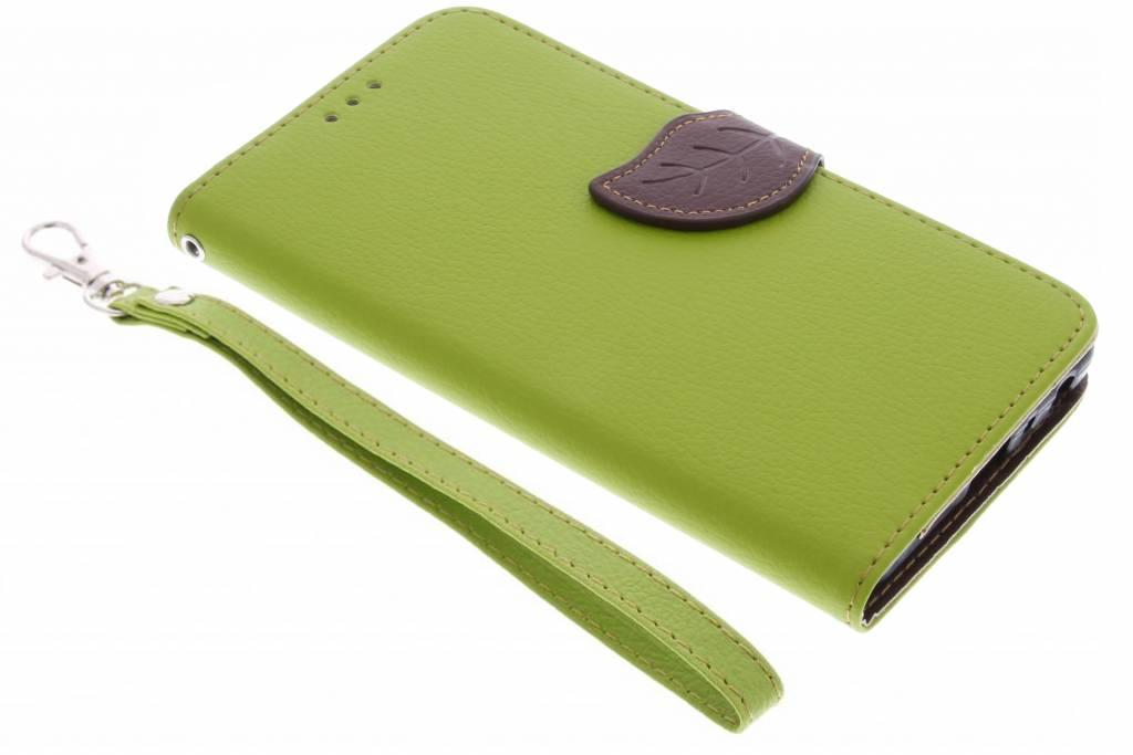 Groene blad design TPU booktype hoes voor de Samsung Galaxy J5