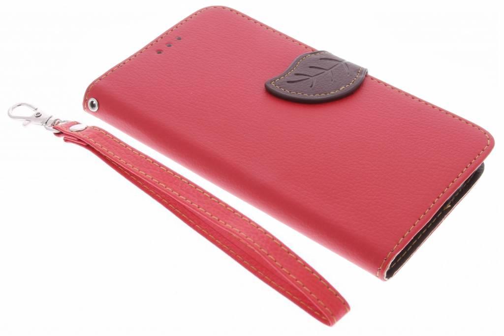Rode blad design TPU booktype hoes voor de Samsung Galaxy J5