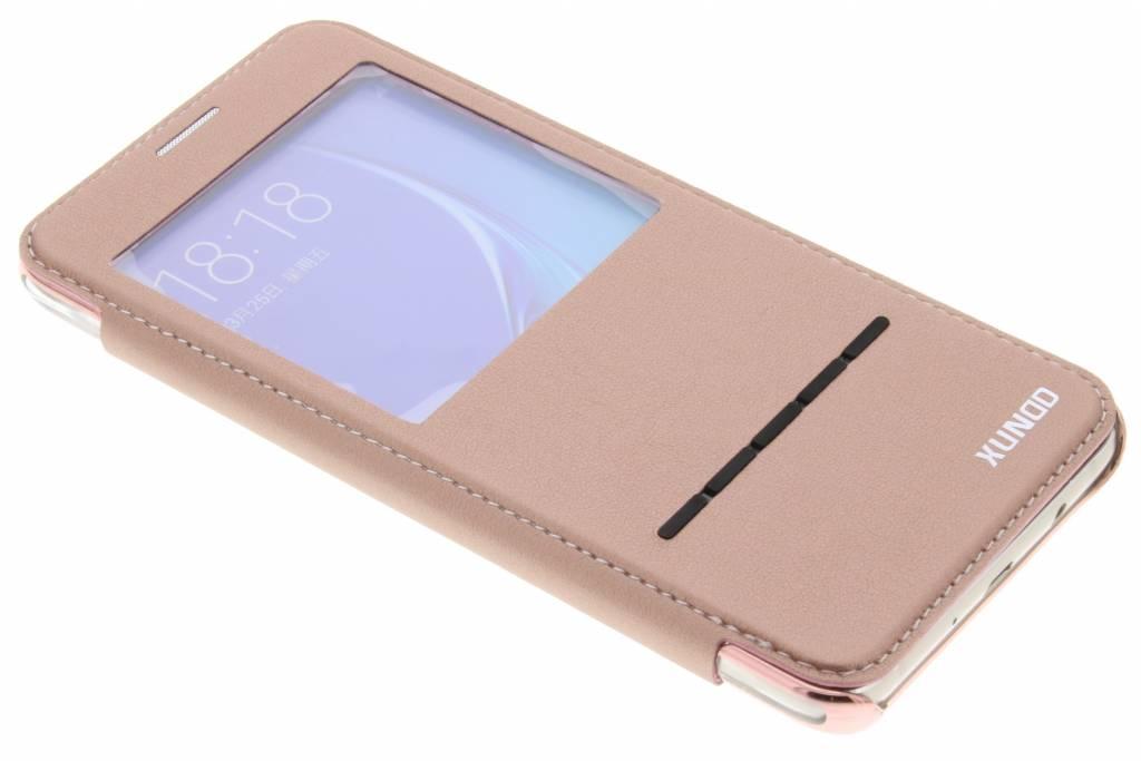 Roze crystal slim book case met venster voor de Samsung Galaxy J5 (2016)