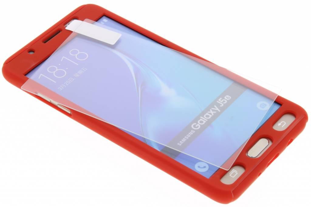 Rode 360° effen protect case voor de Samsung Galaxy J5 (2016)