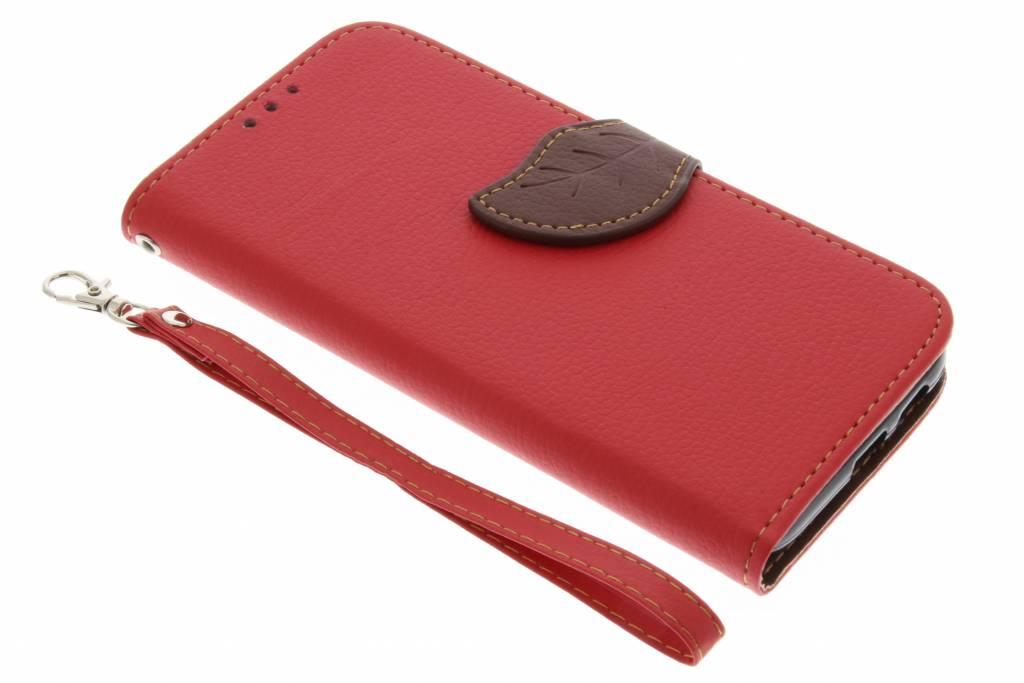 Rode blad design booktype hoes voor de Samsung Galaxy A5 (2017)