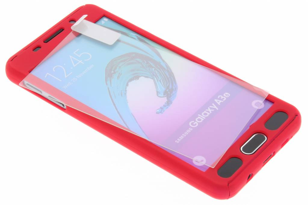Rode 360° effen protect case voor de Samsung Galaxy A3 (2016)