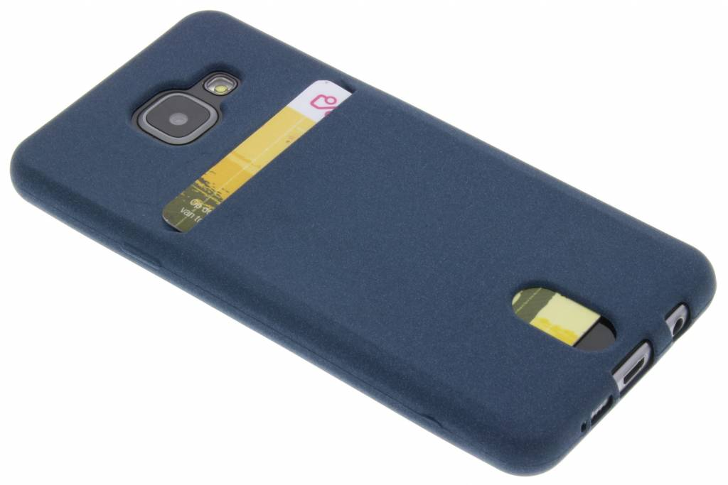 Donkerblauw TPU siliconen card case voor de Samsung Galaxy A3 (2016)