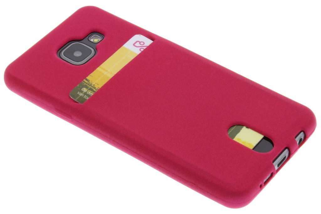 Fuchsia TPU siliconen card case voor de Samsung Galaxy A3 (2016)