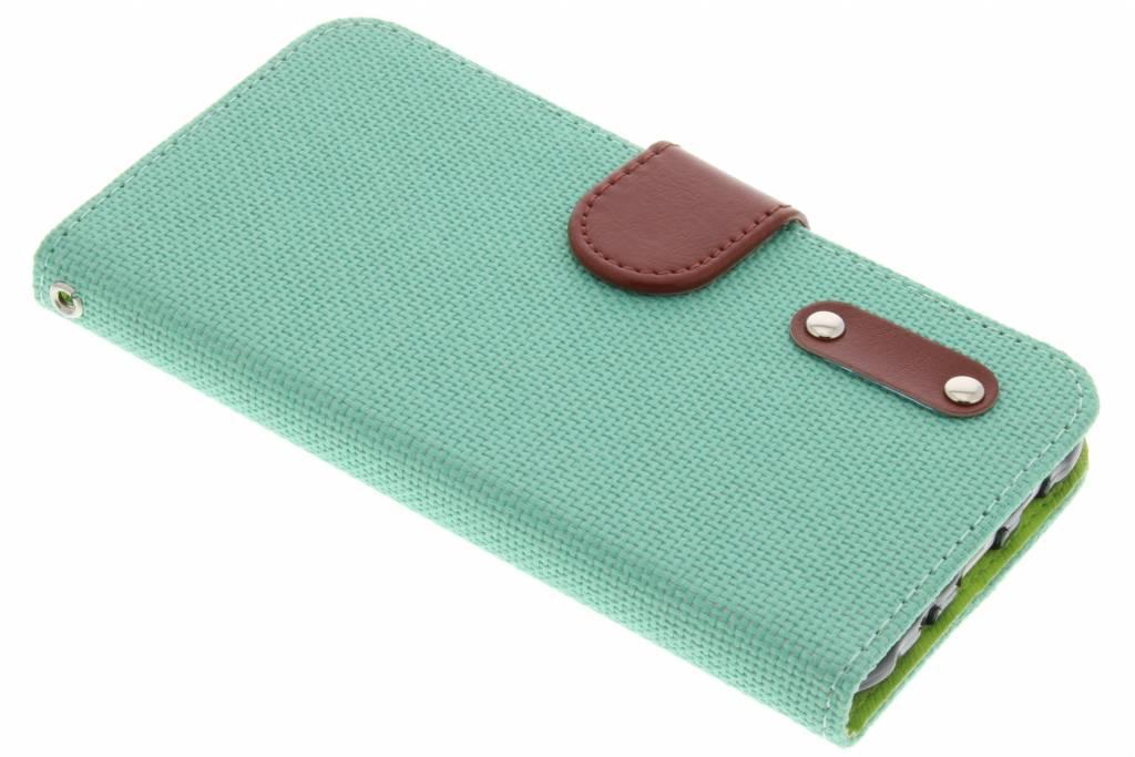 Groene linnen look TPU booktype hoes voor de Samsung Galaxy J5