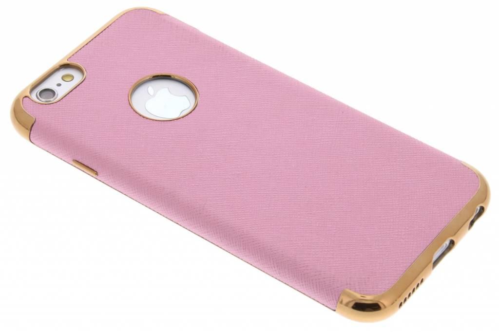 Roze Leder look TPU hoesje met metallic rand voor de iPhone 6 / 6s