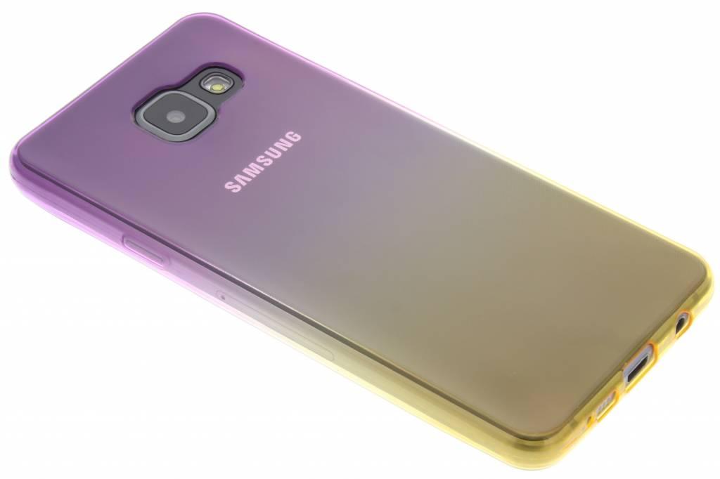 Paars/geel tweekleurig TPU siliconen hoesje voor de Samsung Galaxy A3 (2016)