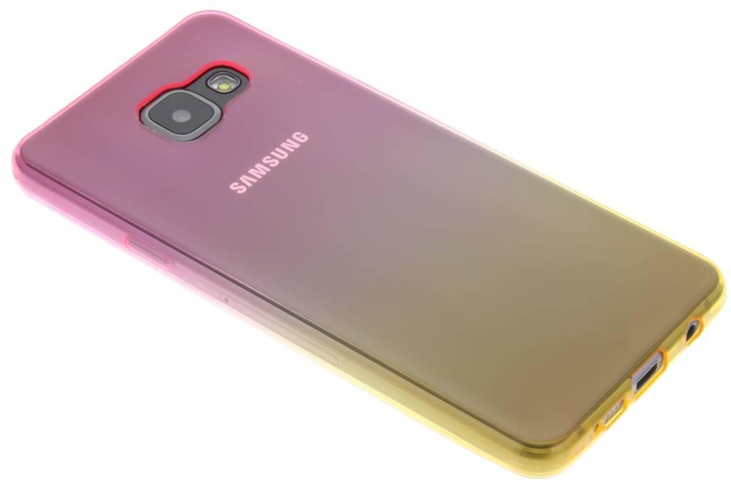 Roze/geel tweekleurig TPU siliconen hoesje voor de Samsung Galaxy A3 (2016)
