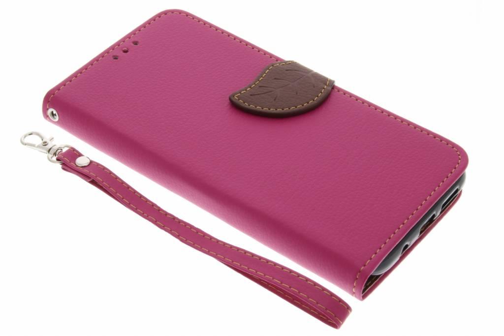 Fuchsia blad design TPU booktype hoes voor de Samsung Galaxy S8 Plus