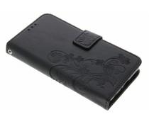 Zwart klavertje bloemen booktype hoes Sony Xperia X