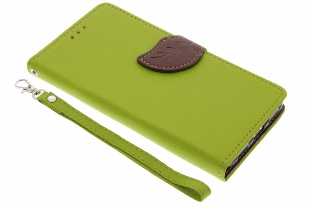 Groene Blad design TPU booktype hoes voor de Huawei P8 Lite (2017)