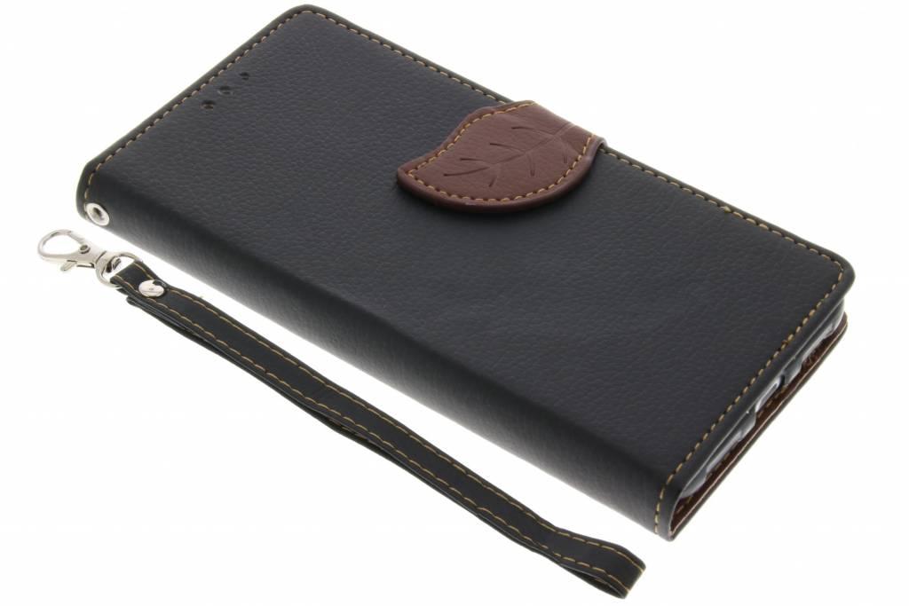 Zwarte Blad design TPU booktype hoes voor de Huawei P8 Lite (2017)