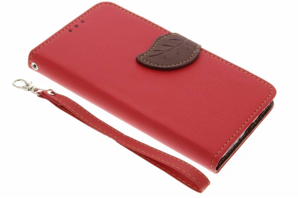 Rode blad design TPU booktype hoes voor de Samsung Galaxy J5 (2016)