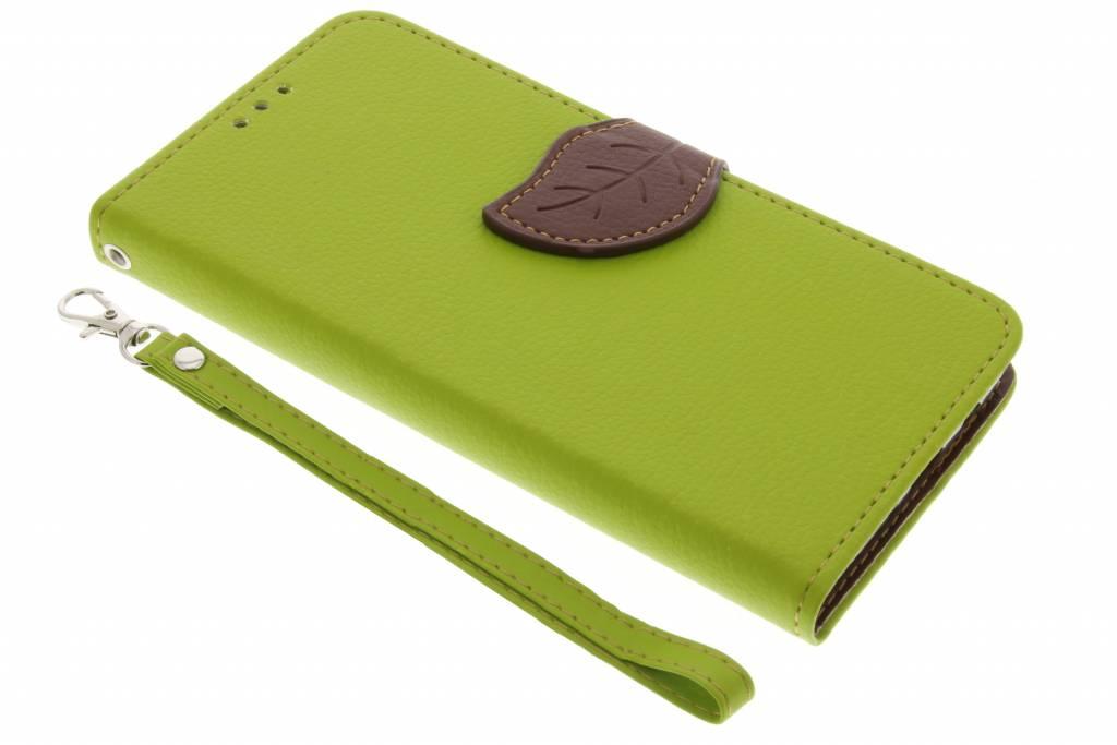 Groene blad design TPU booktype hoes voor de Samsung Galaxy J5 (2016)