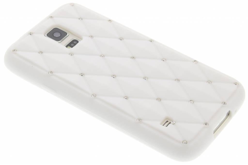 Wit siliconen hoesje met strass voor de Samsung Galaxy S5 (Plus) / Neo