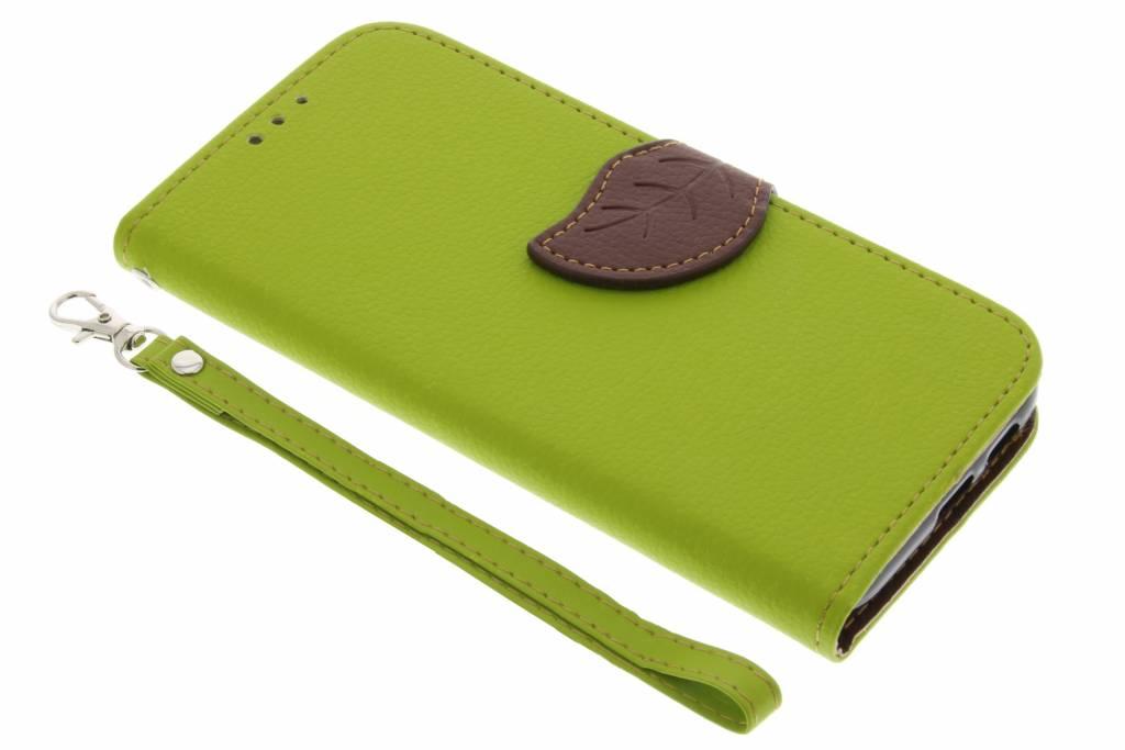 Groene blad design TPU booktype hoes voor de Samsung Galaxy A3 (2017)