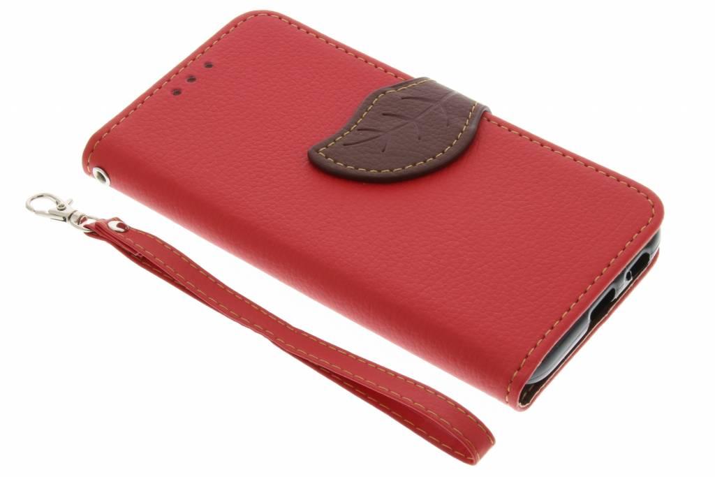 Rode blad design TPU booktype hoes voor de Samsung Galaxy A3 (2017)