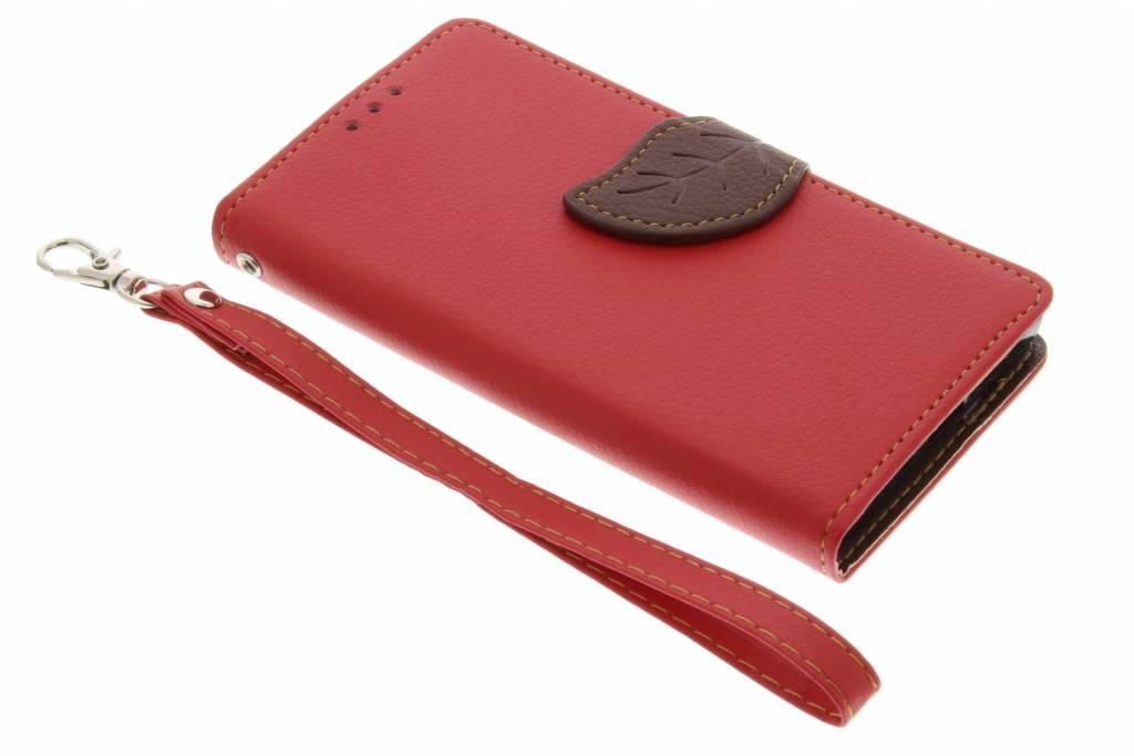 Rode blad design TPU booktype hoes voor de Sony Xperia X Compact
