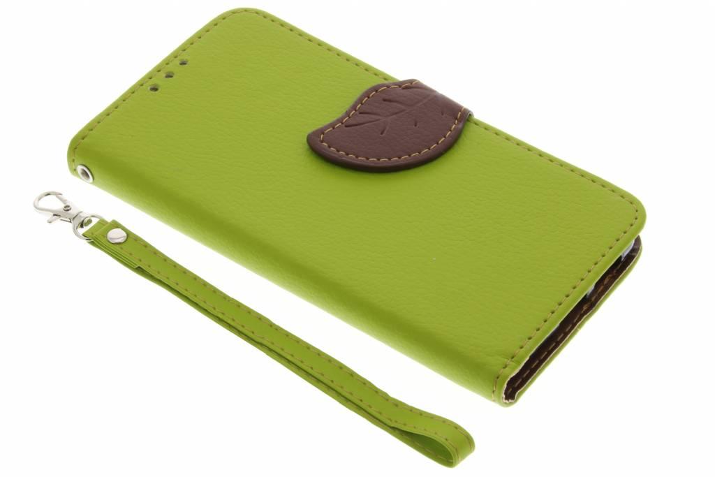 Groene blad design TPU booktype hoes voor de Huawei Nova