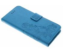 Turquoise klavertje bloemen booktype hoes LG G6