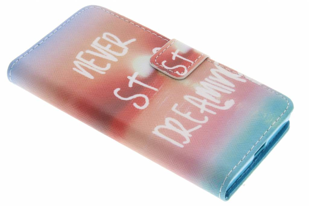 Never stop dreaming design TPU booktype hoes voor de Sony Xperia X Compact