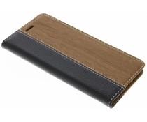Zwart hout leder design booktype hoes Huawei P10