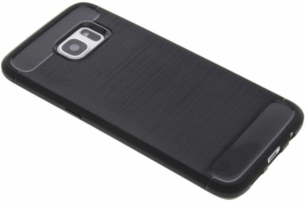 Zwarte Brushed TPU case voor de Samsung Galaxy S7 Edge