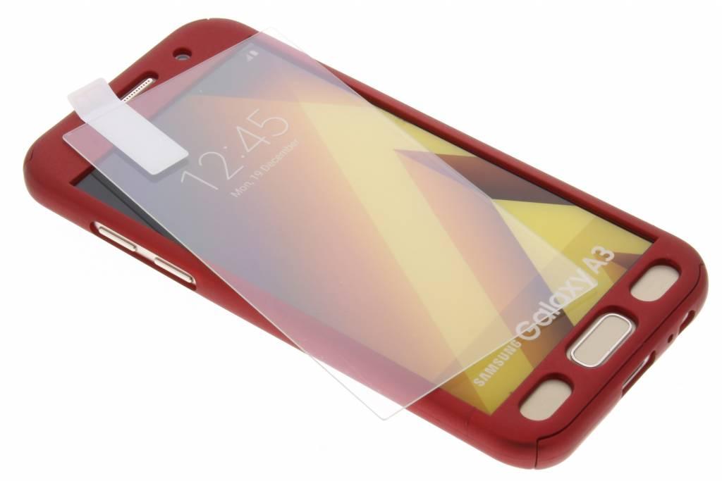 Rode 360° effen protect case voor de Samsung Galaxy A3 (2017)