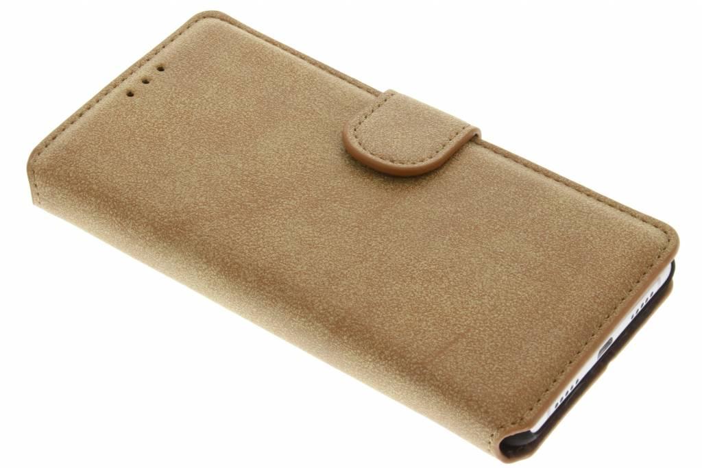 Bruine suède look booktype hoes voor de Huawei P9 Lite
