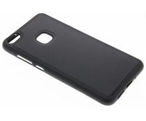 Zwart lederen TPU case Huawei P10 Lite