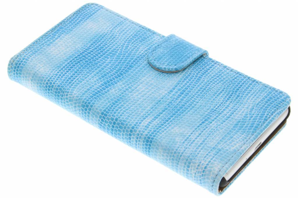 Turquoise hagedis design booktype hoes voor de Sony Xperia X
