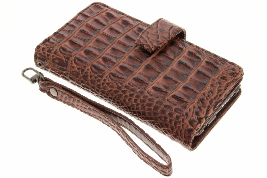 Bruine Krokodil Wallet Case voor de Honor 8