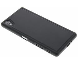 Zwart lederen TPU case Sony Xperia X