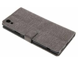 Grijs linnen booktype hoes Sony Xperia XA1 Ultra
