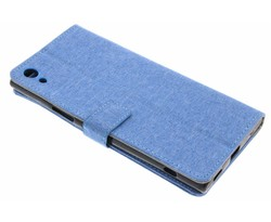 Blauw linnen booktype hoes Sony Xperia XA1 Ultra