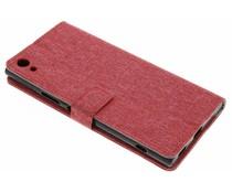 Rood linnen booktype hoes Sony Xperia XA1 Ultra