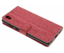 Rood linnen booktype hoes Sony Xperia L1