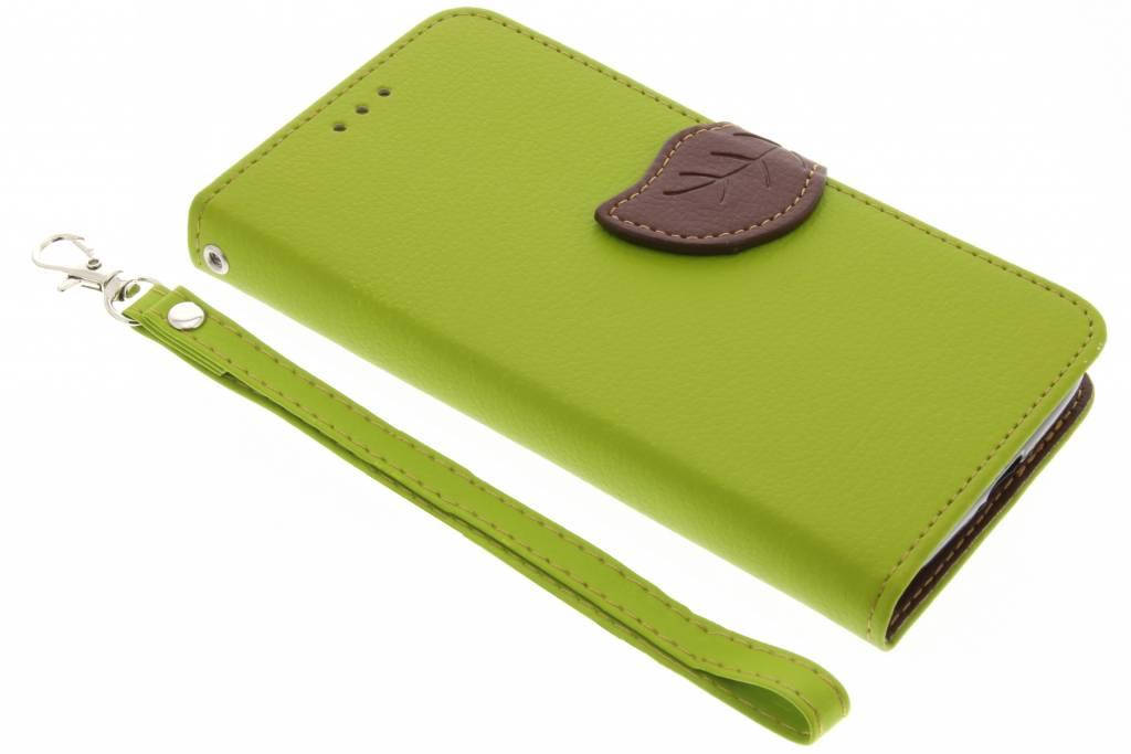 Groene blad design TPU booktype voor de Motorola Moto G4 Play