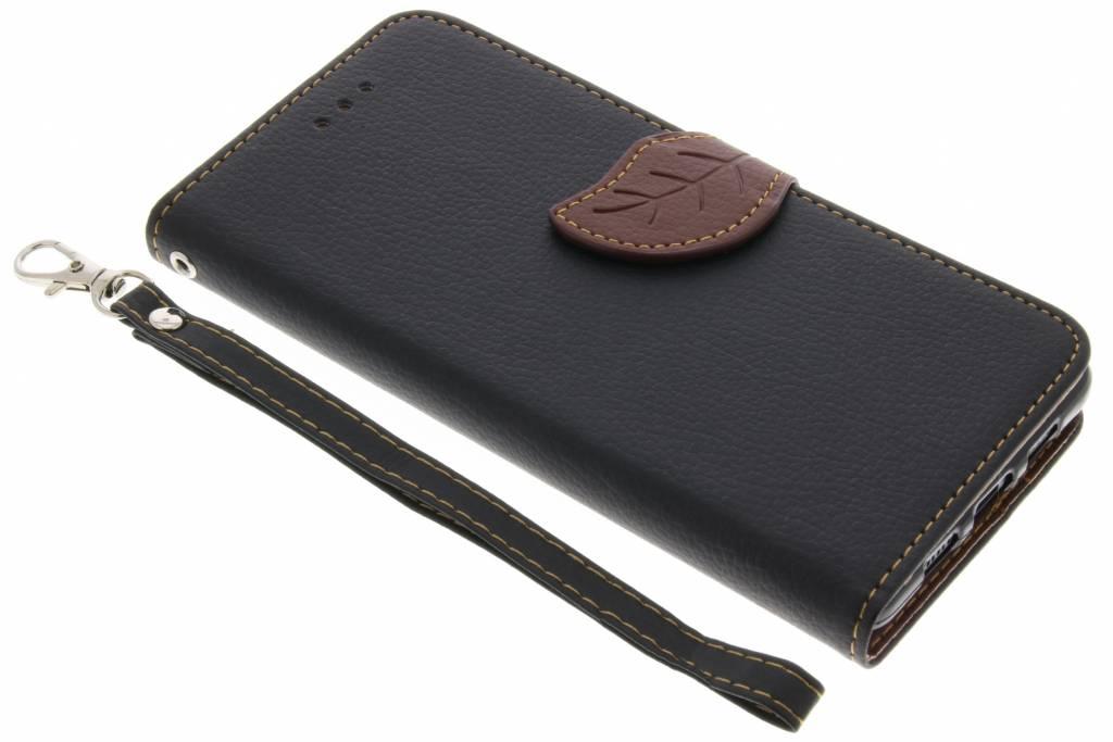 Zwarte blad design TPU booktype voor de Lenovo P2