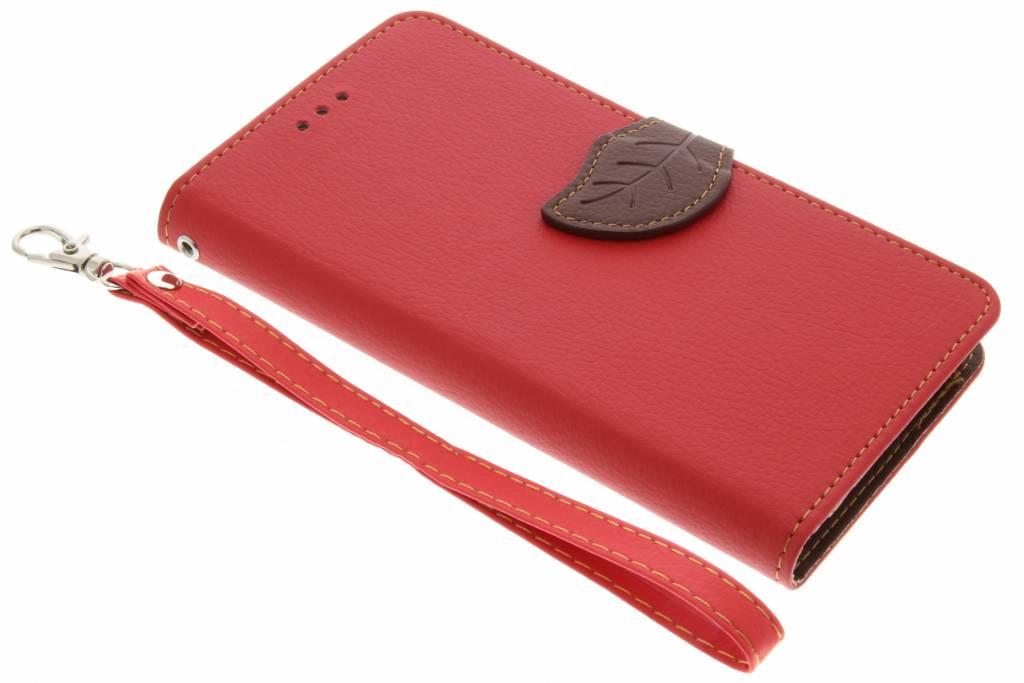 Rode blad design TPU booktype voor de Sony Xperia L1