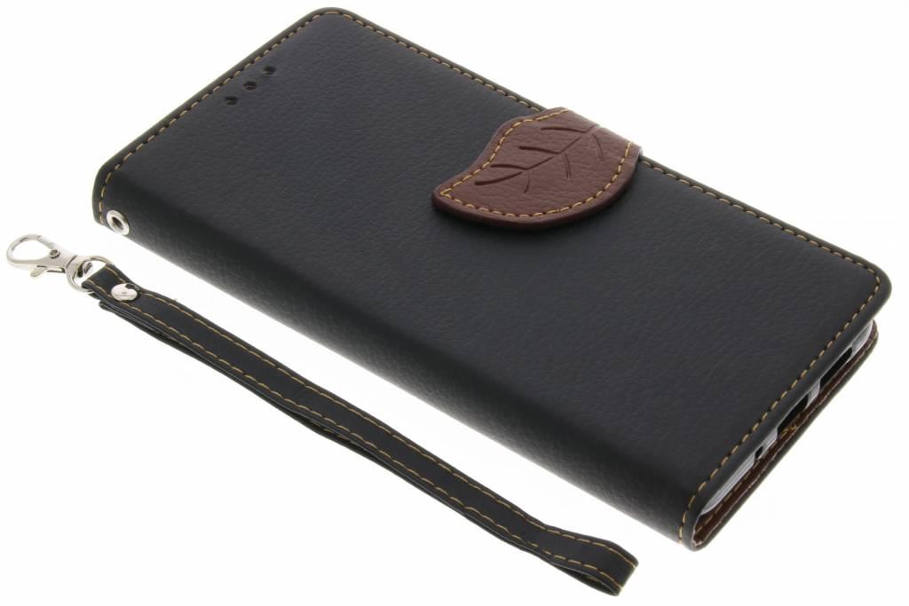 Zwarte Blad design TPU booktype voor de Huawei P10 Lite