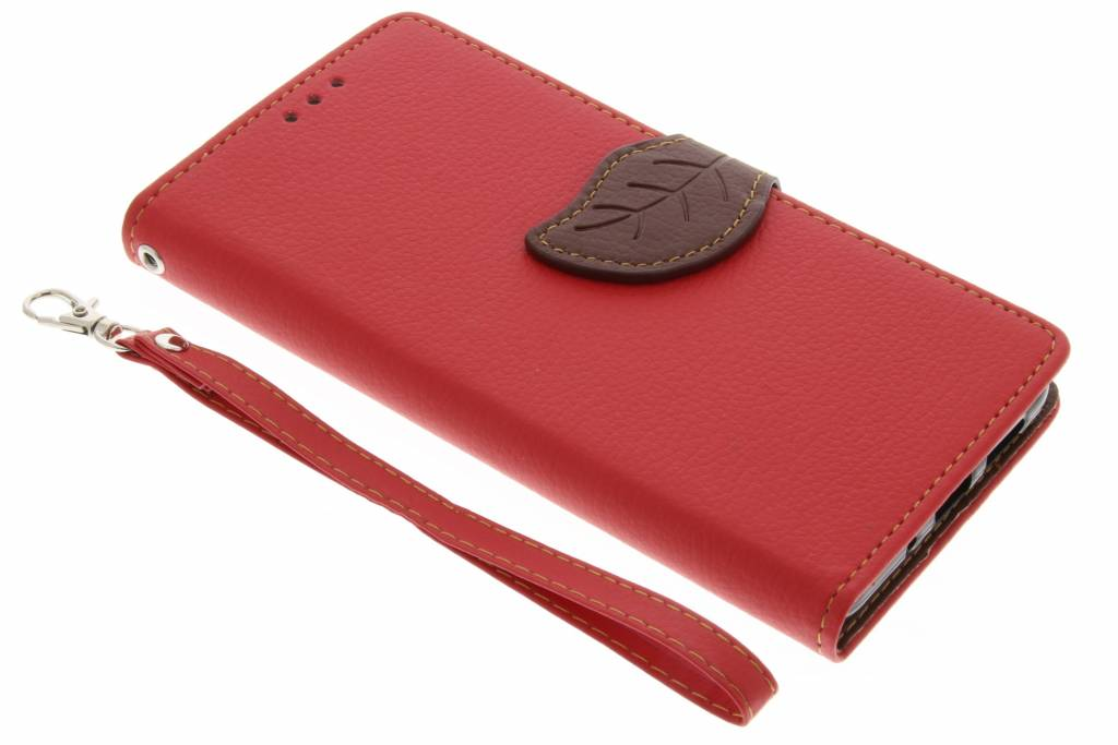 Rode Blad design TPU booktype voor de Huawei P10 Lite