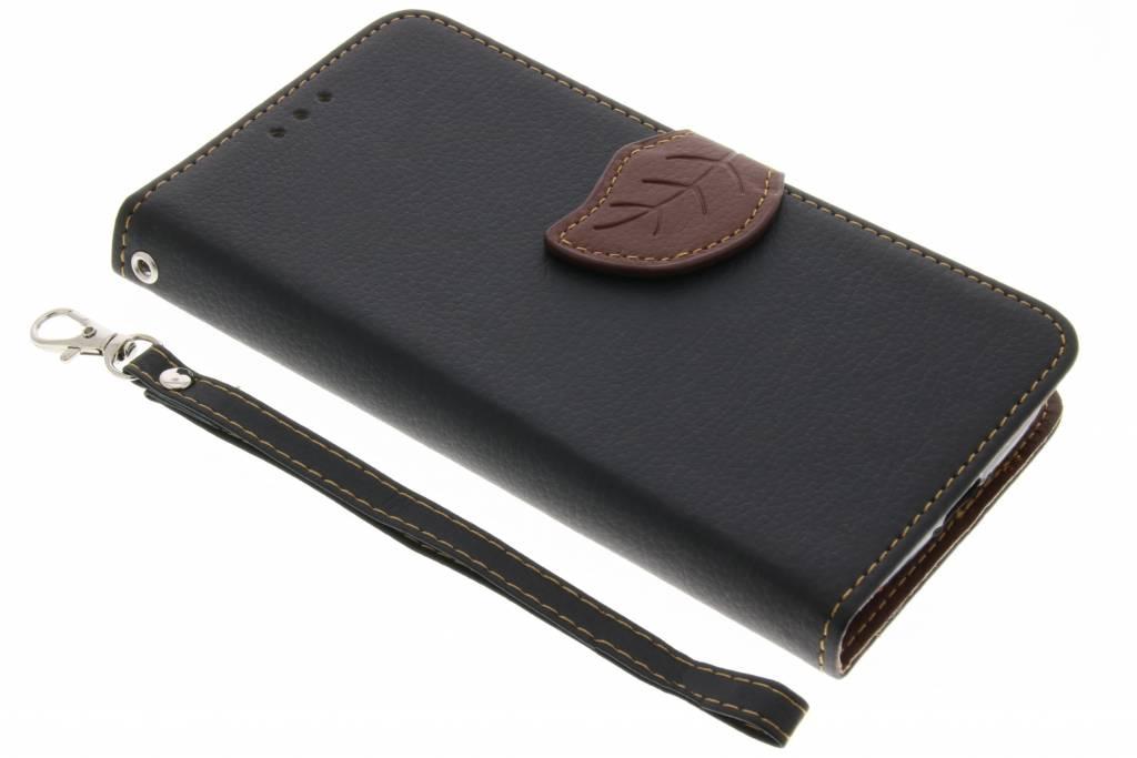 Zwarte blad design TPU booktype voor de Motorola Moto G4 Play