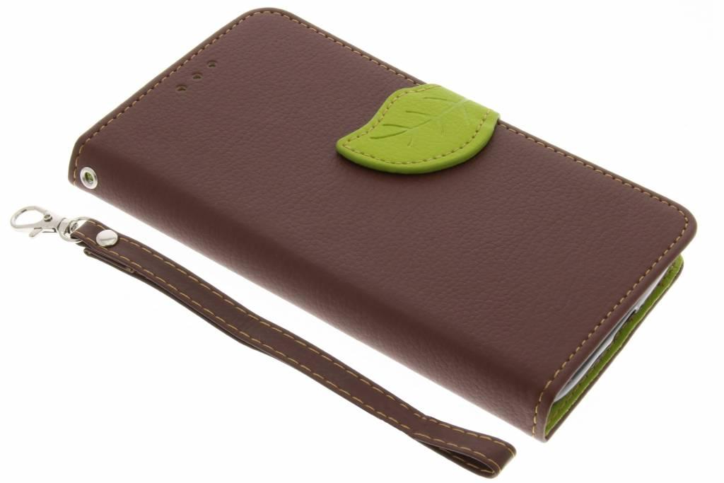 Bruine blad design TPU booktype voor de Motorola Moto G4 Play