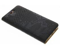 Zwart luxe slangen TPU booktype Huawei P10 Lite