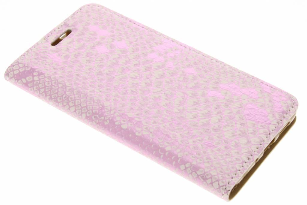 Roze luxe slangen TPU booktype voor de Huawei P10 Lite